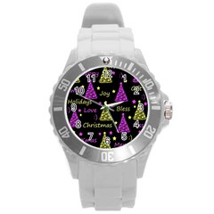 New Year Pattern   Yellow And Purple Round Plastic Sport Watch (l)