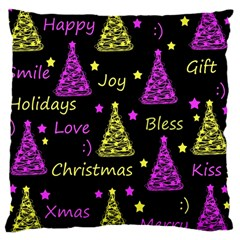 New Year Pattern   Yellow And Purple Large Cushion Case (one Side)