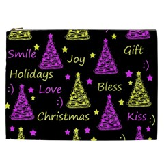 New Year Pattern   Yellow And Purple Cosmetic Bag (xxl)