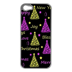 New Year Pattern   Yellow And Purple Apple Iphone 5 Case (silver)