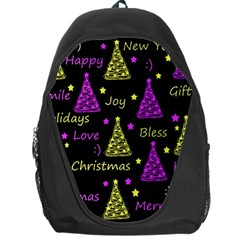 New Year Pattern   Yellow And Purple Backpack Bag