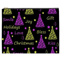 New Year Pattern   Yellow And Purple Cosmetic Bag (xxxl)