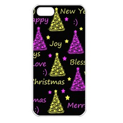 New Year Pattern   Yellow And Purple Apple Iphone 5 Seamless Case (white)