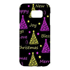 New Year pattern - Yellow and purple Samsung Galaxy S7 Edge Hardshell Case