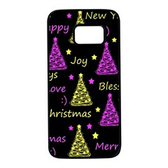 New Year pattern - Yellow and purple Samsung Galaxy S7 Black Seamless Case