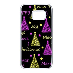 New Year pattern - Yellow and purple Samsung Galaxy S7 White Seamless Case