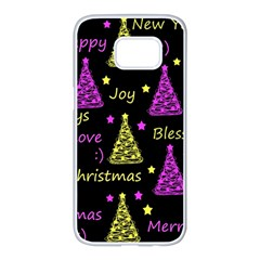 New Year pattern - Yellow and purple Samsung Galaxy S7 edge White Seamless Case