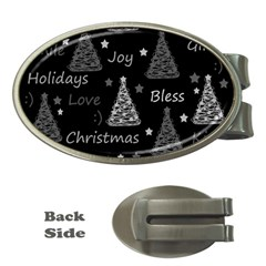New Year pattern - gray Money Clips (Oval)