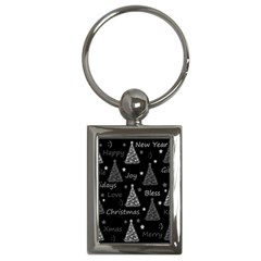 New Year pattern - gray Key Chains (Rectangle)