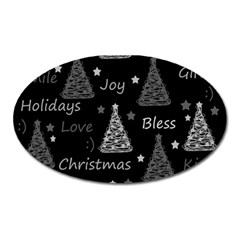 New Year pattern - gray Oval Magnet