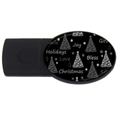 New Year pattern - gray USB Flash Drive Oval (4 GB)