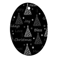 New Year pattern - gray Oval Ornament (Two Sides)