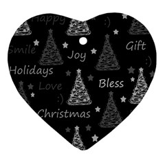 New Year pattern - gray Heart Ornament (2 Sides)