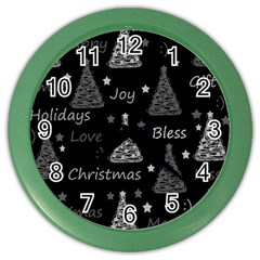 New Year pattern - gray Color Wall Clocks