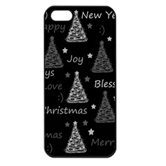 New Year Pattern   Gray Apple Iphone 5 Seamless Case (black)