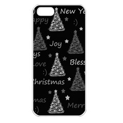 New Year Pattern   Gray Apple Iphone 5 Seamless Case (white)