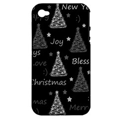 New Year Pattern   Gray Apple Iphone 4/4s Hardshell Case (pc+silicone)