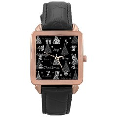New Year Pattern   Gray Rose Gold Leather Watch