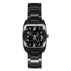 New Year Pattern   Gray Stainless Steel Barrel Watch