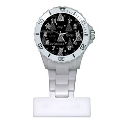 New Year Pattern   Gray Plastic Nurses Watch