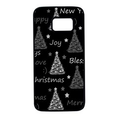 New Year pattern - gray Samsung Galaxy S7 Black Seamless Case