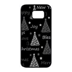 New Year pattern - gray Samsung Galaxy S7 edge Black Seamless Case