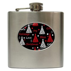 New Year pattern - red Hip Flask (6 oz)
