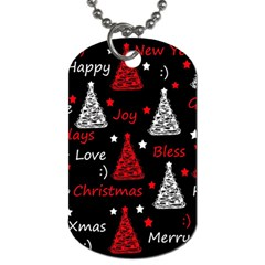 New Year pattern - red Dog Tag (Two Sides)