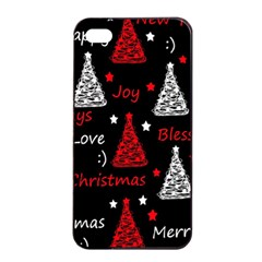 New Year Pattern   Red Apple Iphone 4/4s Seamless Case (black)