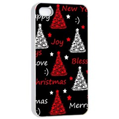 New Year Pattern   Red Apple Iphone 4/4s Seamless Case (white)