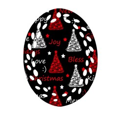New Year Pattern   Red Oval Filigree Ornament (2 Side)
