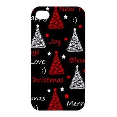 New Year Pattern   Red Apple Iphone 4/4s Hardshell Case