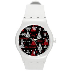 New Year Pattern   Red Round Plastic Sport Watch (m)