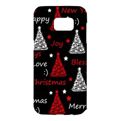 New Year pattern - red Samsung Galaxy S7 Edge Hardshell Case