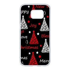 New Year pattern - red Samsung Galaxy S7 edge White Seamless Case