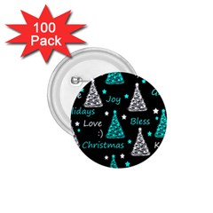 New Year pattern - cyan 1.75  Buttons (100 pack)
