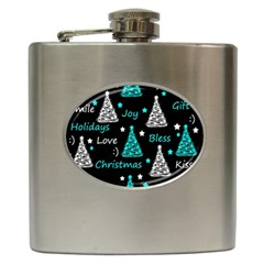 New Year pattern - cyan Hip Flask (6 oz)