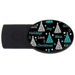 New Year pattern - cyan USB Flash Drive Oval (1 GB)