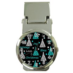 New Year pattern - cyan Money Clip Watches