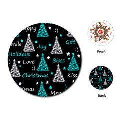 New Year pattern - cyan Playing Cards (Round)