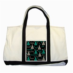 New Year pattern - cyan Two Tone Tote Bag