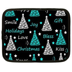 New Year pattern - cyan Netbook Case (Large)