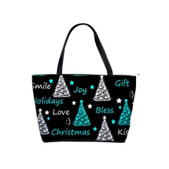 New Year pattern - cyan Shoulder Handbags