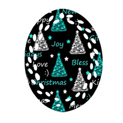 New Year Pattern   Cyan Ornament (oval Filigree)