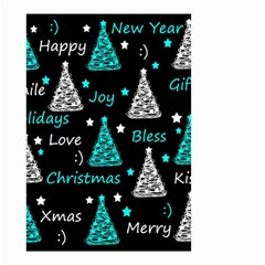 New Year Pattern   Cyan Small Garden Flag (two Sides)
