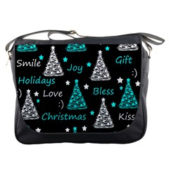 New Year Pattern   Cyan Messenger Bags