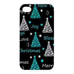 New Year Pattern   Cyan Apple Iphone 4/4s Premium Hardshell Case