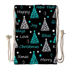 New Year pattern - cyan Drawstring Bag (Large)