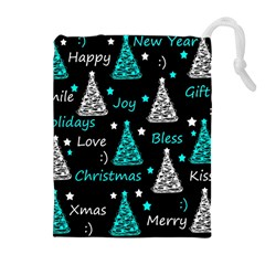 New Year pattern - cyan Drawstring Pouches (Extra Large)