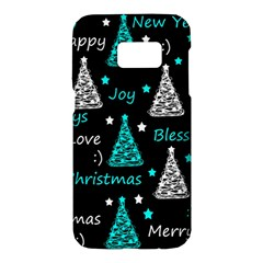 New Year pattern - cyan Samsung Galaxy S7 Hardshell Case
